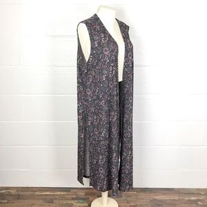 LulaRoe Joy Vest XL charcoal gray ribbed floral